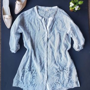 Anthropologie Blue Netted See Through Blouse